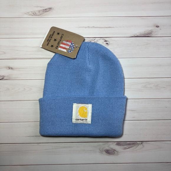 Light Blue Carhartt inter Beanie Hat f5e25316969